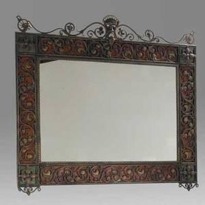 Oscar bach mirror new york 1920s gilt iron wrought iron enameled metal mirrored glass unmarked 36 x 42