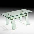 Pietro chiesa fontana arte rectangular coffee table italy 1950s crystal brass glass unmarked base only 17 12 x 26 34 x 19 12 top 38 12 x 20 provenance donzella gallery new york