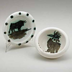 Pablo picasso 18811973 madoura two glazed ceramic ashtrays with bird and bull france ca 1952 both signed editions picasso bird 2 x 5 12 dia bull 1 34 x 5 34 dia publication ala