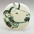 Pablo picasso 18811973 madoura glazed ceramic convex wall plaque with bulls head france 1956 dated in design and stamped madoura plein feu empreinte originale de picasso 9 34 sq publicat