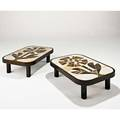 Roger capron pair of low tables france 1960s glazed stoneware stained walnut stamped signatures 11 x 38 12 x 26 34