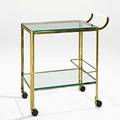 Jacques quinet bar cart france 1960s bronze glass plastic casters unmarked 31 12 x 16 14 x 28 12