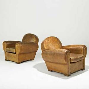 Art deco pair of club chairs england 1920s leather brass oak unmarked 31 x 36 x 38