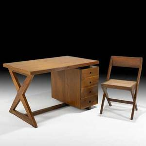Pierre jeanneret administrative desk and vleg chair from the architecture school at chandigarh franceindia 1960s teak cane upholstery brass unmarked desk 28 x 45 x 28 chair 30 x 18 1