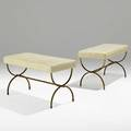 French pair of benches 1940s gilt iron leather unmarked 19 12 x 34 x 16