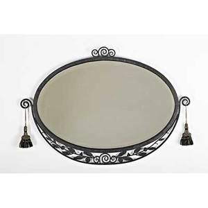 French art deco wall mirror france ca 1930 enameled wrought iron mirrored glass silk tassels paper label camard made in france 22 12 x 32 12