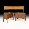 Edmund spence kingsize headboard and two curvedform nightstands sweden 1950s figured walnut stained beech cane stenciled markings nightstands 23 x 20 12 x 17 12 headboard 38 x 79 1