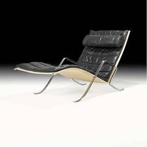 Preben fabricius jorgen kastholm alfred kill grasshopper lounge chair denmark 1960s chromeplated steel leather canvas unmarked 32 12 28 14 x 57