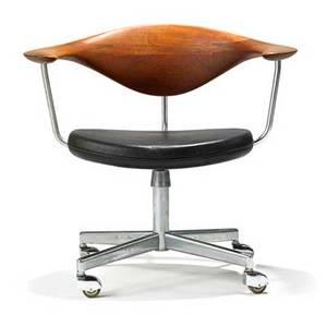 Hans wegner johannes hansen swivel chair no 502 denmark 1950s teak leather matte chromed steel chromed steel rubber metal label 27 12 x 29 14 x 22