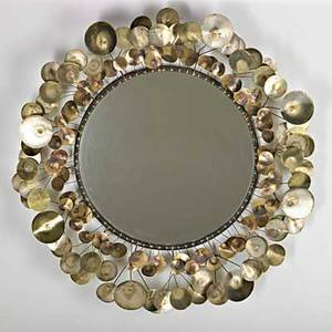 C jere artisan house raindrops wall hanging mirror los angeles 1968 patinated copper brass mirrored glass signed and dated 34 dia x 5 34