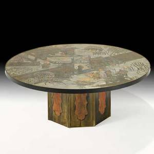 Philip and kelvin laverne chan coffee table new york 1960s etched patinated and enameled bronze pewter raised signature and paper label 17 34 x 47 12 dia