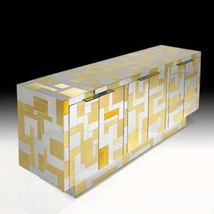 Paul evans directional cityscape sixdoor cabinet usa 1970s chromed steel brass unmarked 30 14 x 74 14 x 20