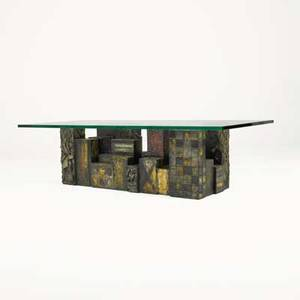 Paul evans paul evans studio skyline coffee table new hope pa 1969 welded and polychromed steel bronze composite glass welded signature and date 16 x 60 x 28
