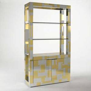 Paul evans directional cityscape cabinet with shelving usa 1970s chromeplated steel brass signed 84 x 48 x 18