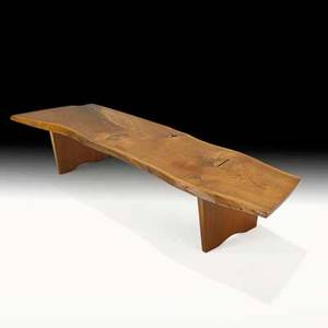 George nakashima nakashima studios special benchcoffee table new hope pa 1973 walnut rosewood unmarked 13 x 76 x 21 12 provenance copy of original drawing order card and letter of a