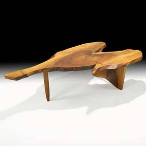 George nakashima nakashima studios conoid coffee table new hope pa 1967 english walnut rosewood unsigned 15 x 57 34 x 31 12 provenance available copy of original drawing