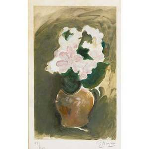 Georges braque french 18821963 les fleurs violets etching and aquatint in colors framed signed and numbered 47200 19 x 11 58 plate 21 x 13 sight provenance private collection n