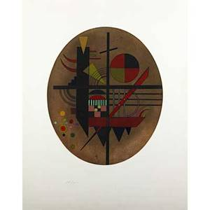 Wassily kandinsky russian 18661944 intime mitteilung 1925 etching and aquatint in colors signed and dated in the plate numbered in pencil 181300 22 38 x 17 12 sheet provenance priv