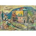 Jacob eisenscher israeli 1896  1980 jerusalem houses oil on canvasboard framed signed 9 34 x 13 58 sight provenance private collection pennsylvania