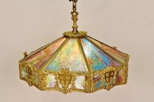 Slag Glass Hanging Light Fixture