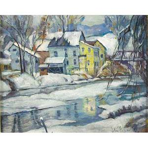 John fabian carlson american 1874  1945 the old mill in winter oil on board framed signed 9 14 x 11 78 provenance private collection new jersey
