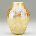 Tiffany studios ribbed and decorated gold favrile glass vase new york 1900s etched 3979 plct favrile 4 34 x 3 12