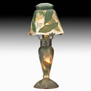 Daum cameo glass boudoir lamp with fruiting trees nancy france ca 1915 iron armature single socket signed daum nancy with croix de lorraine on shade 15 14 x 5 12
