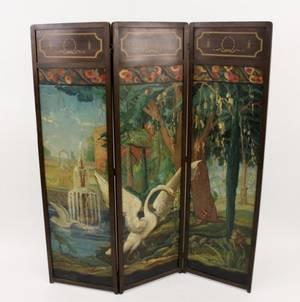 Three Panel Mahogany Framed Painted Screen