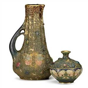 Paul dachsel riessner stellmacher  kessel two gresbijou amphora vessels turnteplitz bohemia ca 1905 larger stamped amphora austria with crown 355258 smaller with red rstk stamp amphora