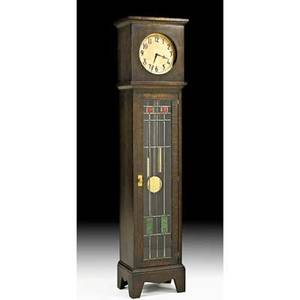Monitor clock works tall clock new york ny ca 1910 oak leaded glass brass paper label 78 x 17 x 12