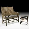 Old hickory settee and rare magazine rack martinsville in ca 1920 both branded settee 43 x 55 x 21 rack 21 x 17 12 x 14