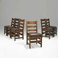 L  jg stickley assembled set of six ladderback chairs no 800 fayetteville ny ca 1905 four have handcraft decals two have branded marks 36 x 18 14 x 17
