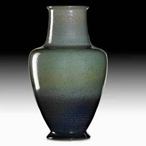 Charles f binns baluster vase in green and blue crystalline glaze alfred ny 1929 signed and dated 8 12 x 5 publications forster und pottery p 207 forster alternative american ceramic