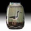 James mcconnell mac anderson shearwater ceramic vessel with blacknecked stilts ocean springs ms 1990 incised jmcca 90 stamped shearwater 8 34 x 5 34