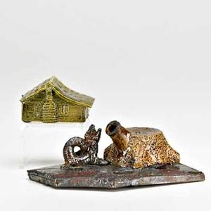 George ohr two novelty items biloxi ms 1890s rare gargoyle and tree stump inkwell cabin paperweight both stamped geo e ohr biloxi miss inkwell 2 12 x 5 34 x 4 121 34 x 3 x 2 pu