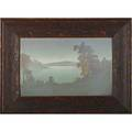 Sara sax rookwood fine scenic vellum plaque depicting lake view cincinnati oh ca 1915 in original frame signed sax to front two paper labels to back one illegible plaque 12 14 x 17 12