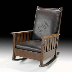 Gustav stickley slatted rocker no 323 eastwood ny ca 1907 red decal 41 x 29 x 32