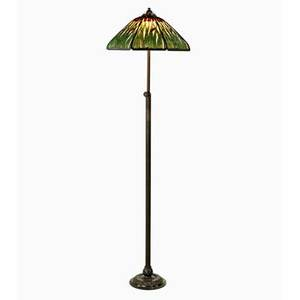 Handel rare floor lamp with adjustable base and overlaid cattail shade meriden ct ca 1915 patinated bronze slag glass enamel three sockets shade and base stamped handel max 80 x 22 min