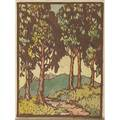Frances h gearhart 1869  1958 color woodblock print on handmade paper hilltops california pencil signed and titled 9 12 x 7