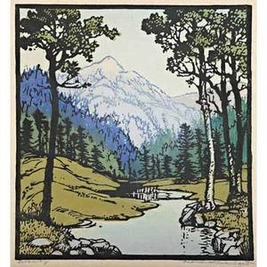 Frances h gearhart 1869  1958 color linoleum block print serenity pasadena ca 1943 matted and framed original paper label pencil signed titled and dated image 10 x 9
