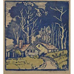 Frances h gearhart 1869  1958 color woodblock printed christmas card on handmade paper with cottage in landscape california 1920s pencil signed image 4 12 x 4 14 card 6 12 x 5 12