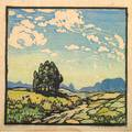 Frances h gearhart 1869  1958 color woodblock print on handmade paper high skies california 1921 pencil signed titled and dated 8 34 x 9