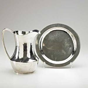 Kalo hammered sterling silver pitcher and plate chicago il both pieces stamped sterling kalo pitcher 9 x 8 plate 10 dia