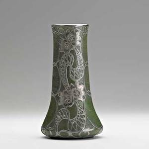 Grueby rare small vase in matte green glaze with silver overlay boston ma ca 1900 circular faience stamp stamped 9251000 fine silver 6 34 x 3 12