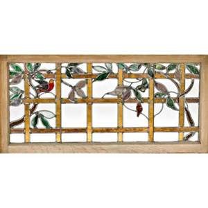 Arts  crafts two stained glass windows one depicting a landscape and the other a bird usa ca 1910 painted leaded and slag glass oak both unmarked landscape 14 12 x 43 bird 23 12 x
