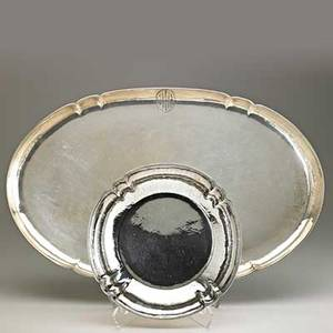 Falick novick sterling silver bowl and tray monogrammed css and mah chicago il ca 1930 both stamped sterling handwrought f novick chicago tray 22 x 14 79 ot total