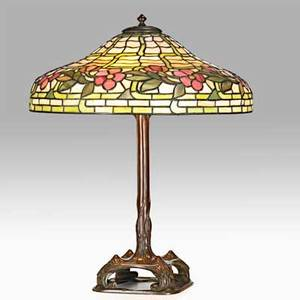 Duffner  kimberly rare slag glass table lamp with cherry blossoms new york ny ca 1910 slag glass patinated metal three sockets unmarked total 24 34 x 20 dia
