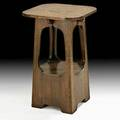 Brooks cutout lamp table in the style of limbert saginaw mi ca 1910 unmarked 28 x 18 sq