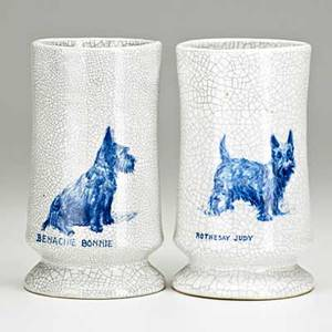 Dedham two matching crackleware vessels with portraits of scottie dogs unique pieces massachusetts ca 1900 blue stamps with rabbits dedham pottery 7 x 4