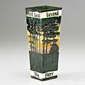 William p jervis briarcliff vase with pine trees and saw beyond the pine trees the fiery forges flame 1913 stamped jervis briarcliff 8 x 3 sq